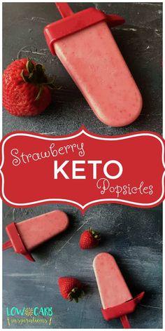 Strawberry Keto Popsicles Creamy Strawberry Keto Popsicles - the texture is AMAZING! via Strawberry Keto Popsicles - the texture is AMAZING! Helado Keto, Keto Eis, Keto Friendly Desserts, Low Carb Desserts, Keto Snacks, Snack Recipes, Dessert Recipes, Dessert Ideas, Free Recipes