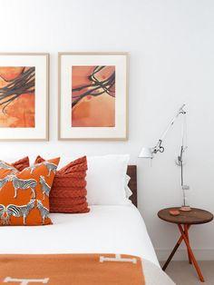 decoração com cor laranja