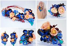 dark Blue Roses Milk peach bordo vine brown by OrxideykaStudio