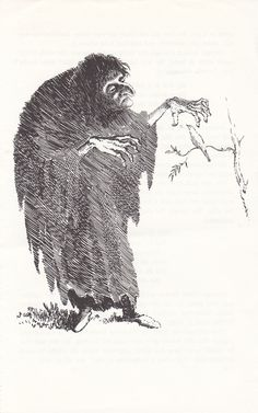 The witch from Jorinda and Joringel, an illustration by Mervyn Peake for Household Tales.