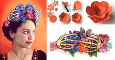 Put together this easy to make paper crown adorned with flowers and skeletons for Day of the Dead. (Español y English tutorial sheets) https://happythought.co.uk/craft/day-dead-paper-flower-crown-headpiece