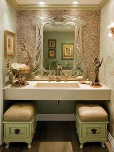 Art nouveau inspired bathroom - pinned this b/c of the tile work combo w mirror