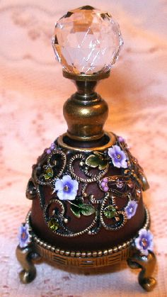 Jeweled Amethyst Glass Butterfly and Flowers Enamel Pewter Perfume Bottle