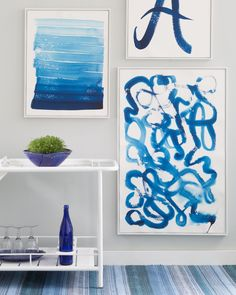 How to: Brushstroke Art.   Lately we've been feeling pretty arts-and-craftsy. Our inspiration? All the fun statement art Annie's brought in (and, of course, one of our color crushes, indigo blue). We've combined the three and pulled together a quick how-to on creating your own Brushstroke Art.