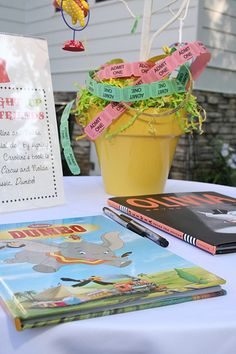 Have party guests sign a book related to the theme of your child's party each year