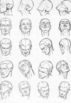 Human Face Sketch, Male Face Drawing, Facial Expressions Drawing, Face Drawing Reference, Drawing Heads, Guy Drawing, Drawing Poses, Art Reference, Figure Drawing