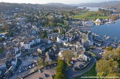 Aerial view of Bowness on Windermere in the Lake District National Park, Cumbria, England
