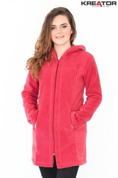 Płaszcz polarowy z kapturem, Kreator Studio Mody, r. 50 XXL - Rozmiar 50 XXL - Płaszcze polarowe