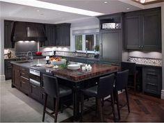 Dark grey cabinets - probably w/some texture (not glossy) w/ dark brown (cherry wood)