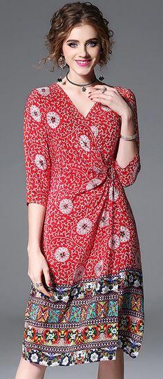Folk V-Neck Half Sleeve Silk Print Skater Dress
