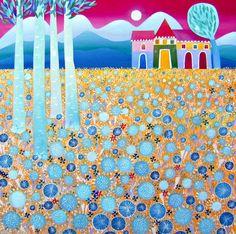Tuttinsieme by Tiziana Rinaldi #art #painting #field #yellow #summer #flowers #blossoms