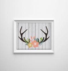 Deer Antler Shabby Chic Art Print. Wood Texture. Floral Decor. Flower Print. Rustic Wall Art. Modern Home Decor. Animal Print. Chic Art. by SamsSimpleDecor on Etsy https://www.etsy.com/listing/216112895/deer-antler-shabby-chic-art-print-wood