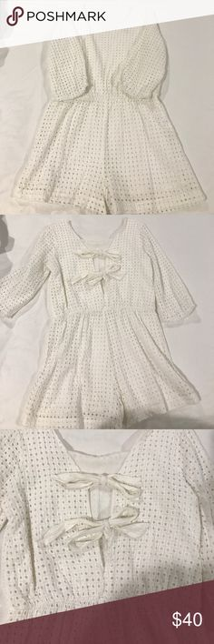 Eyelet Bow Back Romper Super cute white eyelet romper from Anthropologie. Open back with tied bows. Anthropologie Other