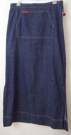 Mavi Jeans Jean Skirt Long Women's Size M Side Slits #Mavi #JeanSkirt