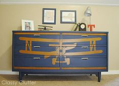 How to stencil a design on furniture {Biplane Dresser Makeover} - Classy Clutter