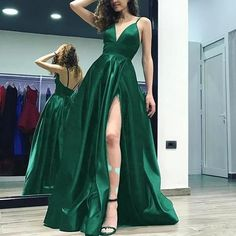 Emerald Green Prom Dresses Long Formal Evening Dresses Sexy High Slit Women outfits - Green Dresses - Ideas of Green Dresses - - Emerald Green Prom Dresses Long Formal Evening Dresses Sexy High Slit Women outfits White Occasion Dresses, Masquerade Ball Dresses, Masquerade Masks, Masquerade Party, Mode Harry Potter, Emerald Green Dresses, Emerald Prom Dress, Dark Green Prom Dresses, Green Satin Dress