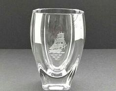 Crystal Glass Vase - Art Glass Etched Tall Ship by Skruf Sweden - Signed