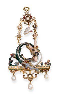 A Renaissance Revival pearl, enamel and gem-set pendant, circa Renaissance Jewelry, Victorian Jewelry, Antique Jewelry, Vintage Jewelry, High Renaissance, Enamel Jewelry, Pearl Jewelry, Pendant Jewelry, Jewelry Art