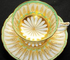 Royal Chelsea Green Gold White Wide Tea Cup and Saucer