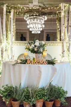 Natural Organic Wedding Reception Sweetheart Bride and Groom Table with Stylish Gold Mr and Mrs Letters, Herbs Growing in Ceramic Pots, Greenery and Silver Pillar Candle Table Decor, and White Birch Tree and Branches with String Lights Arch | Downtown St Pete Wedding Venue The Birchwood