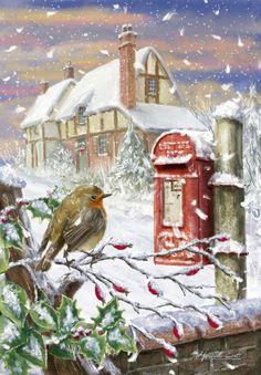 Marcello Corti Christmas Robin Snow And Post Box