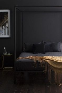 Black Gold Bedroom 26 bedroom paint colors for cohabitating couples - 30 paint colors for a couples bedroom. Read this list of gender-neutral decorating ideas for your bedroom. For more bedroom decor ideas, go to Domino. Black Gold Bedroom, Black Bedroom Furniture, Black Walls, Black Bedroom Design, Black Rooms, Bedroom Colors, Bedroom Decor, Bedroom Rustic, Bedroom Ideas