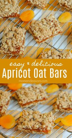 Apricot Oatmeal Crumble Bars – a delicious & easy recipe perfect for a simple dessert or even a sweet breakfast treat! Apricot Oatmeal Crumble Bars – a delicious & easy recipe perfect for a simple dessert or even a sweet breakfast treat! Köstliche Desserts, Delicious Desserts, Dessert Recipes, Yummy Food, Tasty, Apricot Recipes, Sweet Recipes, Easy Recipes, Apricot Ideas