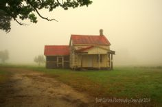 """""""Coming Home"""" Walking down an old dirt path, splashes of yellow and red emerge from the early morning mist. Situated on the foggy edge of a Warren County pasture, a Carolina farmhouse seems to be lost in time looking forward to a long overdue homecoming. (2014)  For more photos please check out my page at Scott Garlock Photography https://www.facebook.com/scottgarlockabandoned and if you like what you see, I sure would appreciate a good old fashioned """"Page Like"""" Thank you"""