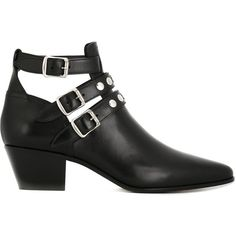 Saint Laurent 'Blake' ankle boots ($1,235) ❤ liked on Polyvore featuring shoes, boots, ankle booties, botas, black, black cut-out booties, leather ankle boots, black leather boots, black cutout booties and cut out booties