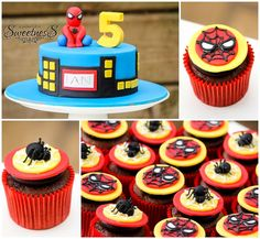 Spiderman Cake and Cupcakes - So awesome for a spiderman party!