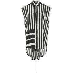 Tome Baja Striped Lace Back Sleeveless Shirt ($795) ❤ liked on Polyvore featuring tops, silk crop top, sleeveless shirts, sleeveless crop top, lace up back shirt and crop top