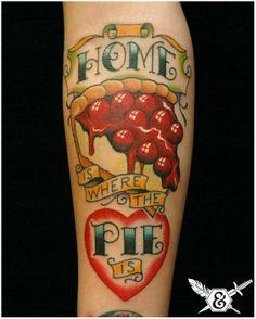 Sweet Cherry Pie dessert food tattoo