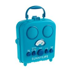 We love this water-resistant, beach-friendly portable speaker for its retro look and smart design (an interior cavity safely keeps your smartphone or MP3 player away from water, and the audio jack fits most media devices). There's also an AM/FM tuner, just in case you feel like surfing the radio waves. <ul><li>Plastic.</li><li>Import.</li></ul>
