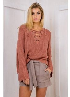 Autumn Winter Sweater Flare Sleeve Lace Up V-Neck Women s Pullover Winter  Sweaters 4e826549a