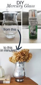 DIY Mercury Glass Vase Give an inexpensive, old vase a truly elegant look, so it reminds you of the fancy vases you see today in the antique stores. The faux Mercury spray paint is an easy technique even beginners can do. Cool Diy, Cheap Home Decor, Diy Home Decor, Room Decor, Farmhouse Side Table, Home Remodeling Diy, Mercury Glass, Diy On A Budget, Cool Rooms
