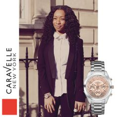 Shemaliah is wearing our Silver-Tone 45L143, coming to stores this spring! #Caravelle #LFW #StreetStyle #Silver #BlackAndWhite #London #FashionWeek