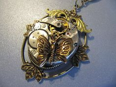 Steampunk Necklace, Gothic Victorian, Steampunk Jewelry, Wings, Butterfly, Gears, Watch Parts, Gift Under 30 Dollars on Etsy, $32.00