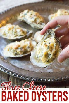 Move over, Oysters Rockefeller and Oysters Mornay! This modernized Three-Cheese Baked Oysters Recipe in the shell with cheese and bacon are perfect for the holidays! #ASpicyPerspective #newyearseve #christmas #holiday via @spicyperspectiv Shellfish Recipes, Seafood Recipes, Gourmet Recipes, Appetizer Recipes, Cooking Recipes, Vegan Recipes, Seafood Appetizers, Sushi Recipes, Cooking 101