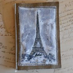 Handmade Fabric Book Eiffel Tower Paris for Mixed Media Art. $8.00, via Etsy.