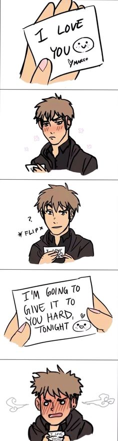 Marco's notes to Jean making his flushed and blush, JeanMarco