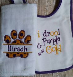 I drool pruple and gold-embroidered baby by HDHomemadeDesigns Baby Burp Cloths, Baby Bibs, Baby Cover, Lsu Tigers, Baby Shower Gifts, Embroidery Designs, Reusable Tote Bags, Monogram, Trending Outfits