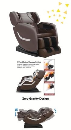 "Full Body Electric Zero Gravity Shiatsu Massage Chair with Bluetooth Heating and Foot Roller for Home and Office(Brown) You can connect your phone and play your favorite music or radio while massaging. Press ""zero-gravity"" button, after fully reclines, feet higher than heart, reduce heart load. Airbags massage to shoulders, arms, hips, calves and foot. Lower back heating ,8 rollers to the backrest. Rollers and airbags massage speed can be adjustable."