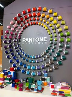 Colourwheel including mugwear, used as a display but also for use. Interactive display method.