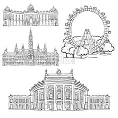 Vienna Austria Famous Buildings by Hebstreits #stockimage #drawing #sketch #travel #pen #download #digital #vector #art