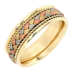14K Tri Color Gold Braided Basket Weave Womens Comfort Fit Wedding Band 75mm Size8 >>> Check out the image by visiting the link.