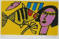 Corneille: Zeefdruk, Z.T. vrouw en vis