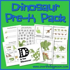 Dinosaur Pre K Pack - Many pages of Dinosaur Learning and Fun for Pre-K and K aged kiddos!  www.overthebigmoon.com