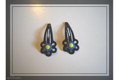 Girls Black Flower Hair Clips with Blue Daisy Flower
