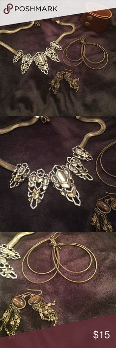 Dark gold and brown tone jewelry lot All pretty burnished dark gold color.  Statement necklace, large hoop dangles, brown stone beaded dangles, and leather snap on cuff. Jewelry