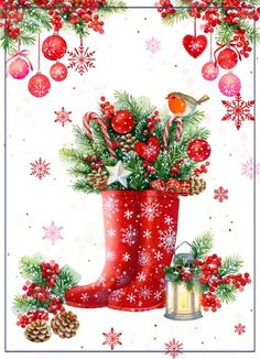 A more traditional approach to Illustration with these lovely festive wellie boo. - A more traditional approach to Illustration with these lovely festive wellie boots by Advocate's - Christmas Scenes, Christmas Pictures, Christmas Art, All Things Christmas, Winter Christmas, Vintage Christmas, Christmas Decorations, Coastal Christmas, Christmas Clipart